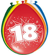8 Luftballons Zahl 18 Geburtstag bunt