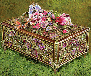 NEW Jay Strongwater Green Genevieve Grand Floral Chest Box green SIGNED