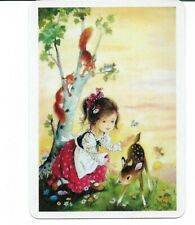 G-3 swap playing card MINT cond RETRO STYLE LITTLE PRETTY GIRL WITH BAMBI