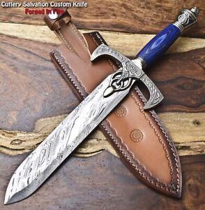 Rare Custom Hand Made Damascus Steel Blade Dagger Hunting Knife   HARD WOOD