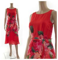 ex Monsoon Fit & Flare Midi Floral Print Red Versatile Tea Occasion Dress