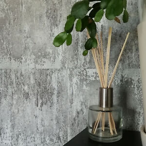 Textured Concrete Tile Effect Wallpaper in Charcoal & Grey