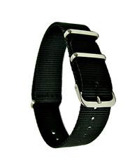 18mm Nato Army Canvas Nylon wrist watch Band strap 250mm BLACK silver