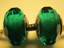 Set 2 Authentic Pandora Silver 925 Ale Fascinating Teal Glass Bead Charm New