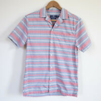 Vineyard Vines Mens Cabana Short Sleeve Button Down Shirt Pink Blue Stripe XS