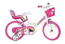 "Dino Unicorn 16"" Kids Single Speed Bike Girls Bicycle Pink w Stabilisers 164R-UN"
