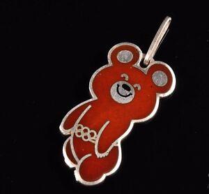 XXII Moscow-1980 Olympics Games Mascot MISHA Silver 916 Enamel Pendant 3.35 g