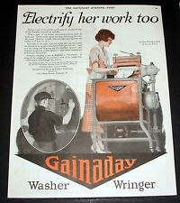 1920 OLD MAGAZINE PRINT AD, GAINADAY WASHER WRINGER, ELECTRIFY HER WORK TO, ART!