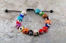 Rainbow Color Howlite Stone Skull Eyeball Adjustable Bracelet Jewelry
