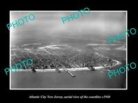 OLD LARGE HISTORIC PHOTO OF ATLANTIC CITY NEW JERSEY, AERIAL OF COASTLINE 1940 4