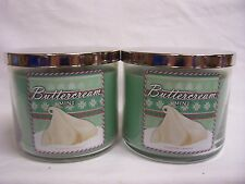 Bath & Body Works (2) BUTTERCREAM MINT  Large 3 Wick Jar Candle 14.5 oz  TWO!!