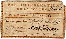 BILLET DE CONFIANCE GARD UZES 15 SOUS
