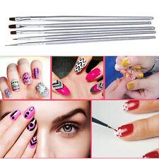 5Pcs Nail Art Acrylic UV Gel Salon Pen Flat Brush Kit Dotting Nail Art Tool