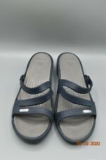 Crocs Patricia Low Wedge Strappy Sandals Women's Size 8 Navy Blue slip on   tub8