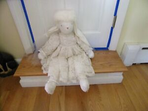 Large White Bride Plush Rabbit 28 inch Long Bead & Sequin Off White Gown & Veil