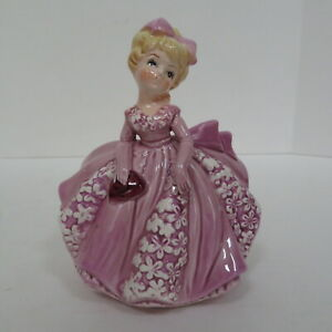 VINTAGE RELPO PLANTER #5936, GIRL IN PURPLE GOWN WITH BOW & PURSE, JAPAN, VGC