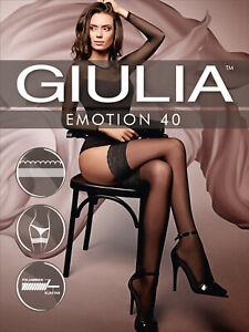 Giulia Emotion 40 Lace Top Semi Sheer Hold Ups 40 Denier Soft Sheen