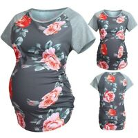 Women Maternity Comfy Cotton Short Sleeve Floral Tops Blouses Pregnancy T-Shirt