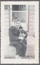 Vintage Photo Pretty Girl w/ Cute Pet Boxer Puppy Dog 737885