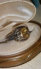 Effy D'oro 14k Yellow Gold filigree-Sterling silver checkerboard Citrine Ring
