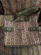 Etienne Aigner Handbag Purse Beige Brown Fabric Silver Double Strap Green