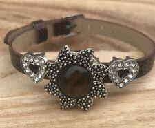 Brown Adjustable Snap Button Hearts Faux Bracelet Noosa,Ginger Snaps 2pc Set