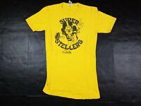 Vtg Pittsburgh Super Steelers 1970s Jack Lambert NFL Caricature Gold T-Shirt 70s