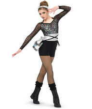 Girls Dance Costume Silver and Black Undercover by A Wish Come True Size XLA