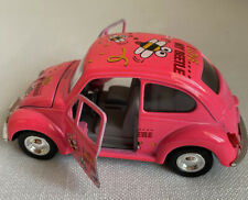 """Pink Metal VW Bug I Love My Beetle"""" Bees flying Pull Back & Go Toy Car  #SS570"""