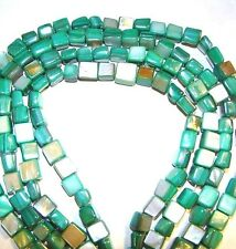 MP243 Green 7mm Square Cube Mother Of Pearl Gemstone Shell Beads 15""