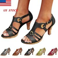 US Stock Ladies Buckle Block High Heels Sandals Open Toe Ankle Shoes