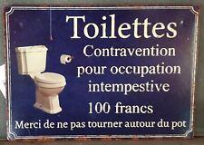 """plaque """"toilettes contravention...""""15*21 cm"""