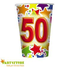 bicchieri 200cc stardust 50 anni compleanno ricorrenza festa party tavola 10 pz