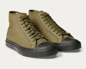 Ralph Lauren Mens Double RL RRL Mayport Canvas Olive Green Hi Top Lace Sneakers