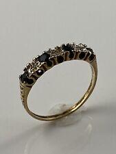 Hallmarked 9ct Gold Diamond Sapphire Ring. Uk Size M