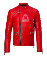 New Men's Handmade Full Red Quilted Zippered Genuine Sheep Skin Leather Jacket