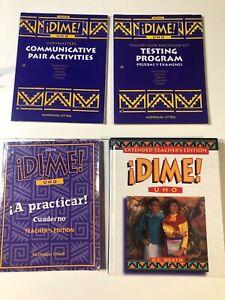 Dime Uno by D.C. Heath 1997 Teacher Bundle, TE, Cuaderno TE, Copymasters, Test
