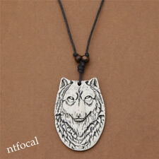 White Yak Bone Resin Wolf Head Pendant Necklace Black Chain Cool Chic Jewelry