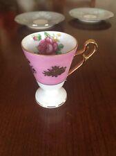 VINTAGE ROYAL HALSEY VERY FINE STEMMED FOOTED DEMITASSE TEA CUP Pink Floral Rose