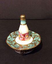 Hand Painted Limoges Bottle On Plate Trinket Box - France