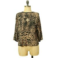 Nasty Gal Dolman Crop Knit Top Size 4 3/4 Sleeve Animal Print Black Brown EUC A4