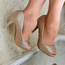 Ladies Diamante Stilettos Evening High Heels Peep toe court Shoes Sparkly size
