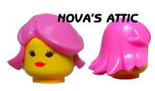 rosa capelli da donna ragazza Principessa per LEGO FIGURE MINI NUOVO