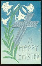 A HAPPY EASTER Large Silver Cross Lilies Vintage 1910 Postcard