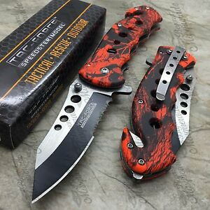 Tac Force Half Serrated Red Camo Tactical Spring Assisted Pocket Knife