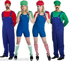Couples Adults Mens & Ladies Mario AND Luigi 80s Fancy Dress Costumes Outfits