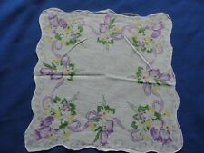 Sweet Vintage Cotton Floral Hankie Handkerchief Pretty Purple Tulips & Summer Da