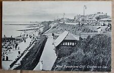 Old street scene Postcard  -  West Parade and cliff. Clacton-On-Sea. Essex.