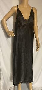 Secret Treasures Long Satin Nightgown Negligee Black XL