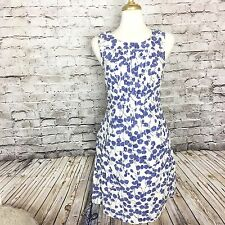GAP Blue and White Floral Tank Top Dress Woman's 10 Lined 100% Cotton